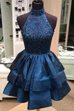 simidress.com | Chic Navy Blue High Neck A-line Rhinestone Homecoming Dresses Party Dress, SH488