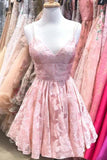 New Arrival Pink Spaghetti Straps A-line V-neck Lace Homecoming Dresses, SH490