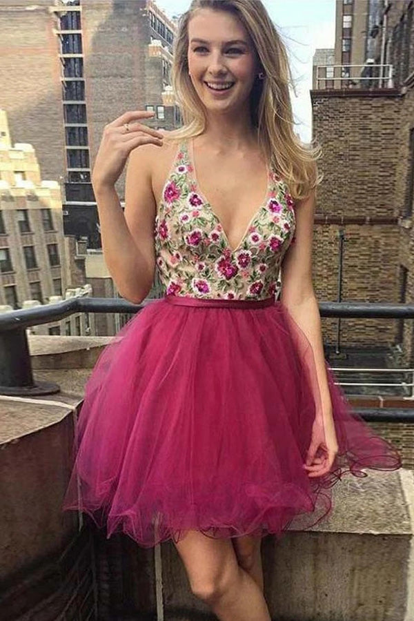 Unique A-line V-neck Tulle Backless Homecoming Dresses with Appliques, SH492