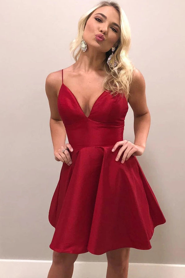 Red A-line V-neck Satin Spaghetti Straps Homecoming Dresses Party Dress, SH494
