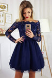 Navy A-line Long Sleeves Off-the-Shoulder Homecoming Dresses with Appliques, SH497