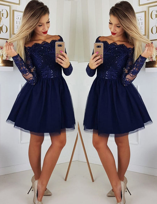 simidress.com | Navy A-line Long Sleeves Off-the-Shoulder Homecoming Dresses with Appliques, SH497