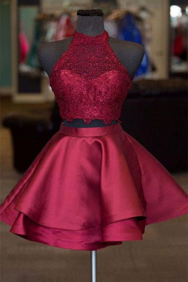 Burgundy Two Piece A-line Halter Satin Homecoming Dresses Short Prom Dresses, SH500