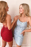 Simple Short Sheath Spaghetti Straps Homecoming Dresses with Appliques, SH503