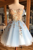 Charming Light Blue Sweetheart Homecoming Dress with Appliques, SH504