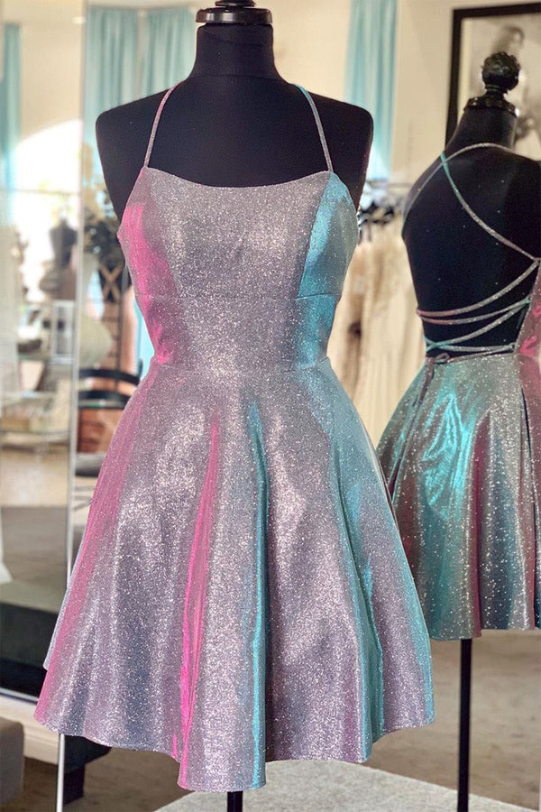 Cute Sparkly Gray A-line Spaghetti Straps Homecoming Dress, Cocktail Dresses, SH506