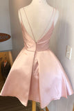 www.simidress.com | Simple Pink A-line V-neck Satin Straps Homecoming Dress, Party Dresses, SH507