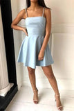 Cute Simple Light Blue Spaghetti Strap A-line Short Homecoming Dresses, SH510