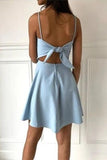 simidress.com | Cute Simple Light Blue Spaghetti Strap A-line Short Homecoming Dresses, SH510