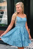 Beautiful Lace Blue A-line Spaghetti Straps Cross Back Homecoming Dresses, SH512