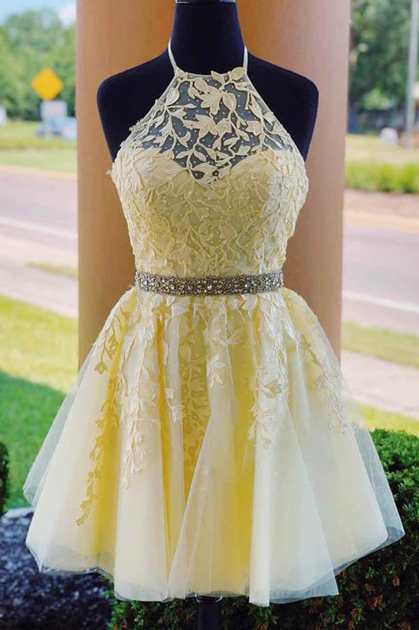 Yellow Halter Beaded Homecoming Dresses Short Prom Dress with Appliques, SH513