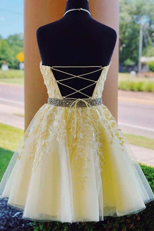 www.simidress.com | Yellow Halter Beaded Homecoming Dresses Short Prom Dress with Appliques, SH513