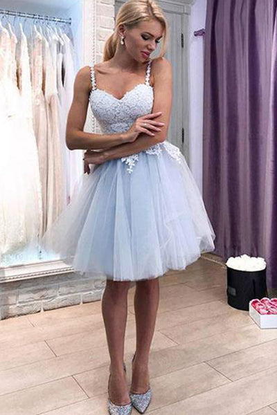www.simidress.com | White Tulle Lace A-line Sweetheart Homecoming Dresses Short, Party Dresses, SH514