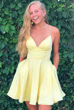 www.simidress.com | Simple Yellow A-line Satin Spaghetti Straps V-neck Homecoming Dress with Pockets, SH515