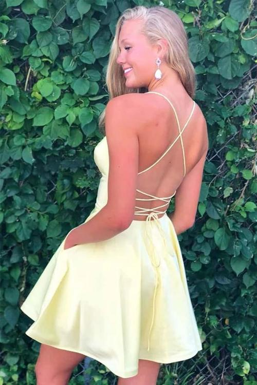 Simple Yellow A-line Satin Spaghetti Straps V-neck Homecoming Dress with Pockets, SH515
