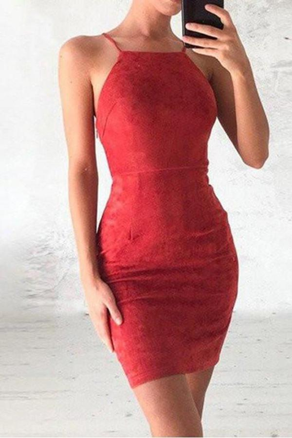 Simple Red Tight Halter Lace Homecoming Dresses, Prom Dress Short, SH516