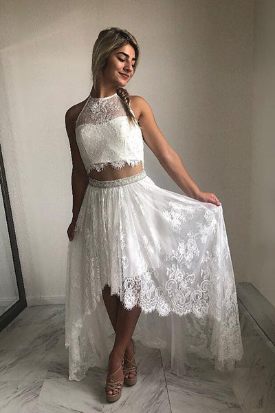 White Stylish High Low A-line Halter Lace Homecoming Dresses Short Prom Dress, SH517