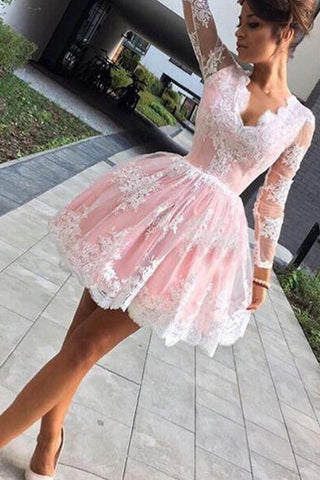 Cute A-line Pink Short Homecoming Dress, Long Sleeves Party Dress,SH52