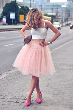 Two Piece Pink Spaghetti-Strap Tulle Sleeveless Homecoming Dresses,SH54