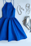 Flat-Out Blue Backless Short Prom Dress,Spaghetti Straps Homecoming Dresses,SH56