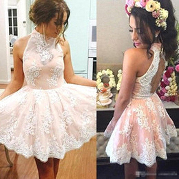 White Lace High Neck Homecoming Dress, Sleeveless Short Prom Dress,SH58