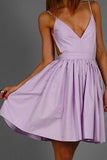 Lilac Homecoming Dress,Party Dress,Prom Dresses,Ruffled Cocktail Dress,SH59
