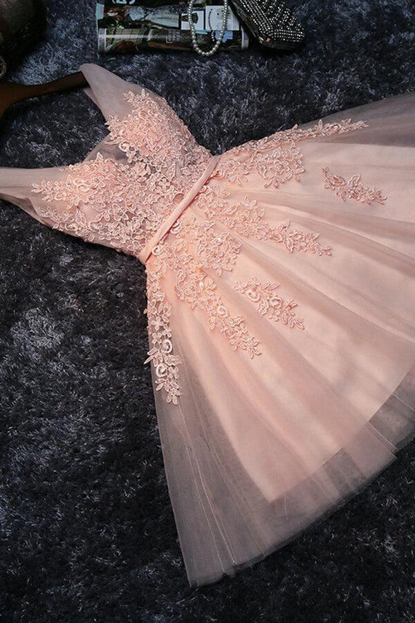 Blush Pink Short Bridesmaid Dress,Prom Dress,Lace Appliqued Tulle Homecoming Dress,SH60 | homecoming dresses | short prom dresses | homecoming dresses pink | blush homecoming dresses | lace homecoming dresses | plus size homecoming dresses | cheap homecoming dresses | homecoming dresses online | simidress.com