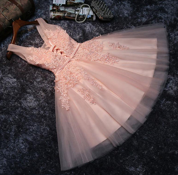 Blush Pink Lace Appliqued Tulle Homecoming Dresses, Short Bridesmaid Dresses, SH60