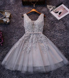 Cheap Grey Short Bridesmaid Dress,Prom Dress,Lace Appliqued Tulle Homecoming Dress,SH60 | homecoming dresses | short prom dresses | homecoming dresses pink | blush homecoming dresses | lace homecoming dresses | plus size homecoming dresses | cheap homecoming dresses | homecoming dresses online | simidress.com