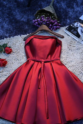 Red Simple Satin Homecoming Dress,Cheap Short Prom Dresses for Girls, SH84