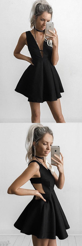 Sexy Black V-neck Sleeveless Short Prom Dress, Cheap Homecoming Dress, SH95