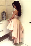 Pink Stretch Satin Beaded Homecoming Dress,A-Line Sweetheart High Low Prom Dress,SH96