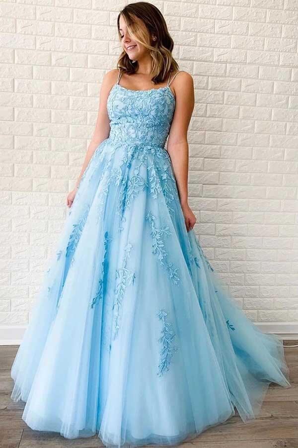 Buy blue Tulle A-line V Neck Spaghetti Straps Long Prom Dresses with Appliques, SP531 | prom dress | evening dresses | formal dresses | blue prom dresses | party dresses | Simidress.com