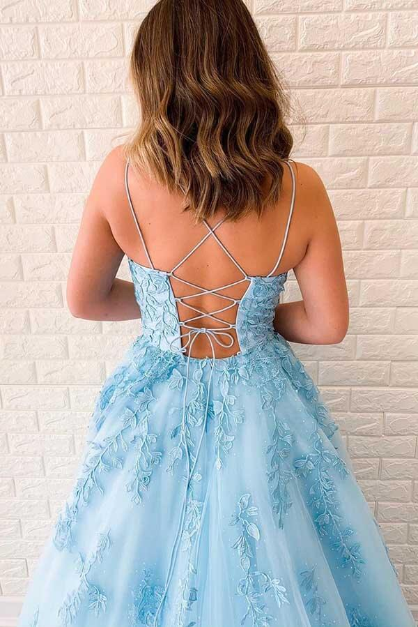 Simidress sell Blue Tulle A-line V Neck Spaghetti Straps Long Prom Dresses with Appliques, SP531 | lace prom dresses | blue prom dresses | party dresses | Simidress.com