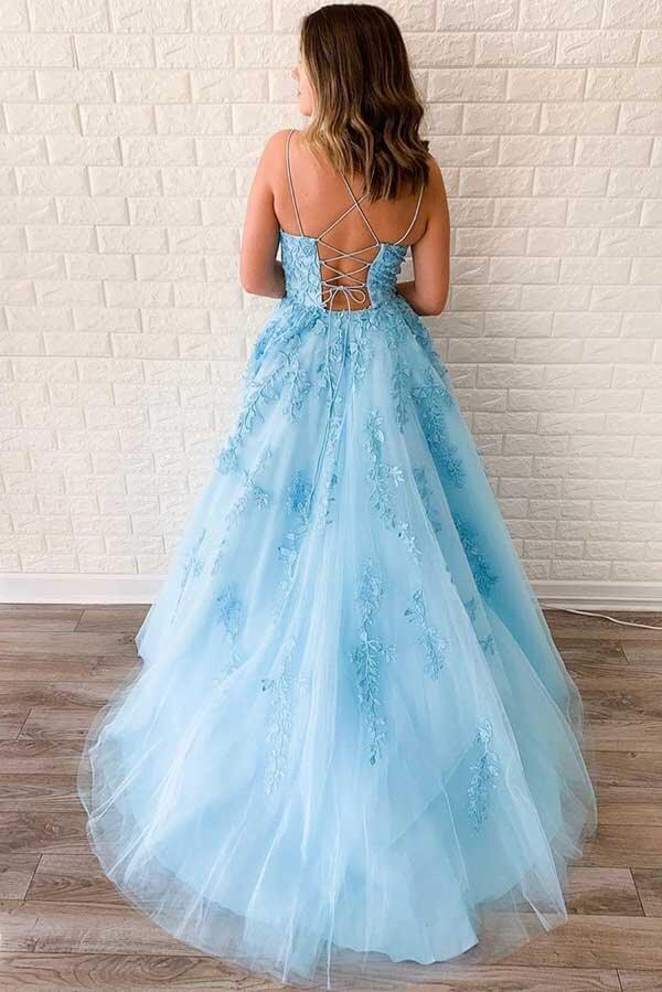 Simidress sell Blue Tulle A-line V Neck Spaghetti Straps Long Prom Dresses with Appliques, SP531 | Blue prom dresses | lace prom dresses | evening dresses | formal dresses | cheap prom dresses | Simidress