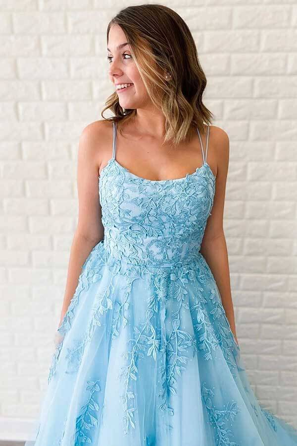 Simidress sell Blue Tulle A-line V Neck Spaghetti Straps Long Prom Dresses with Appliques, SP531 | lace prom dresses | formal dresses | cheap prom dresses | blue prom dresses | evening dresses | party dresses | Simidress.com