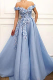 www.simidress.com offer Blue Satin A-line Off-the-shoulder Lace Sweetheart 3D Flowers Prom Dresses, SP427 at affordable price