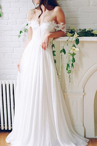Charming Long Appliques Wedding Dresses, A-Line Bridal Dresses,Wedding Gowns, SW20