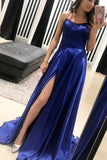 Cute Simple Blue Spaghetti Straps Long Prom Dresses with Side Slit, SP339
