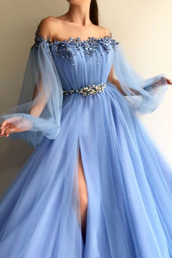 Petite Blue Hot Tulle A-Line Slit Evening Dress Prom Dresses online, SP340