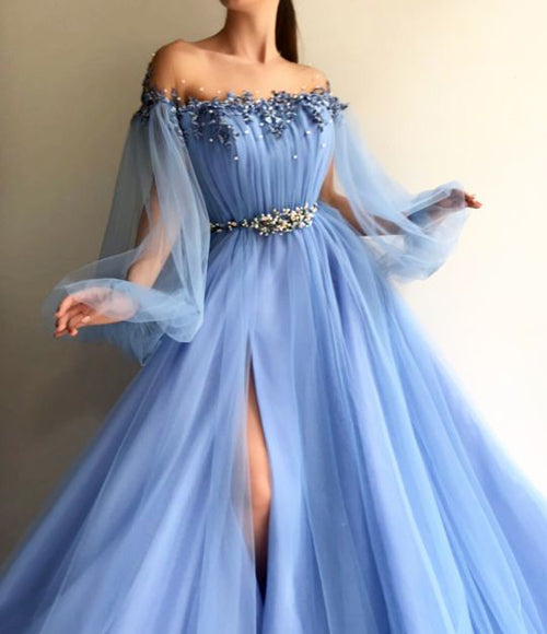 Petite Blue Hot Tulle A-Line Slit Evening Dress Prom Dresses online, SP340|simidress.com