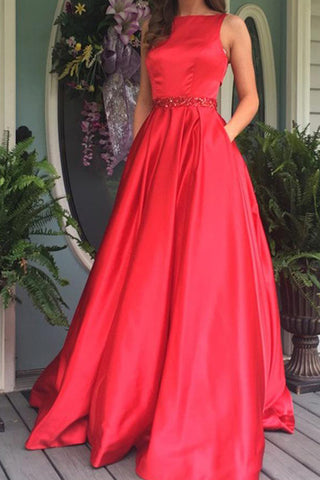 Elegant Red A-line Open Back Long Prom Dresses Evening Dress online, SP341