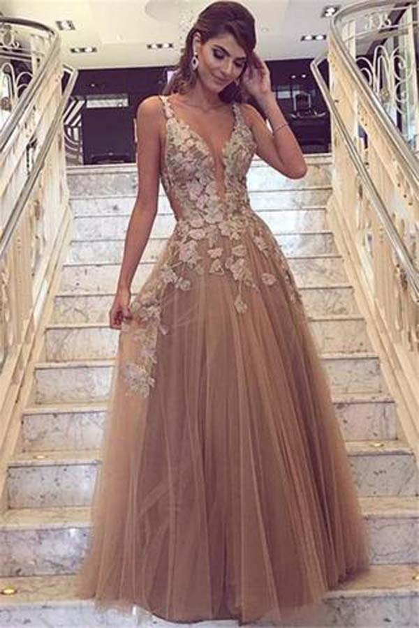 Charming Tulle Straps A-line V neck Long Prom Dresses with Appliques, SP342