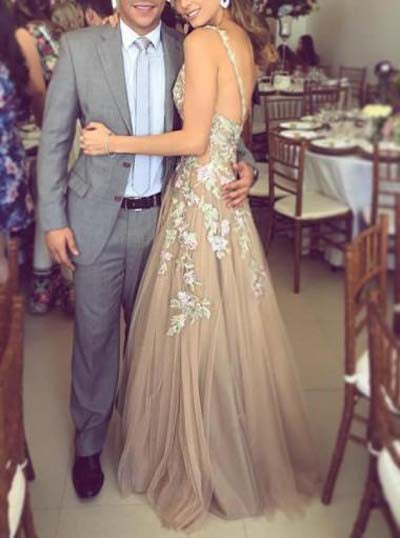 Charming Tulle Straps A-line V neck Long Prom Dresses with Appliques, SP342|simidress.com