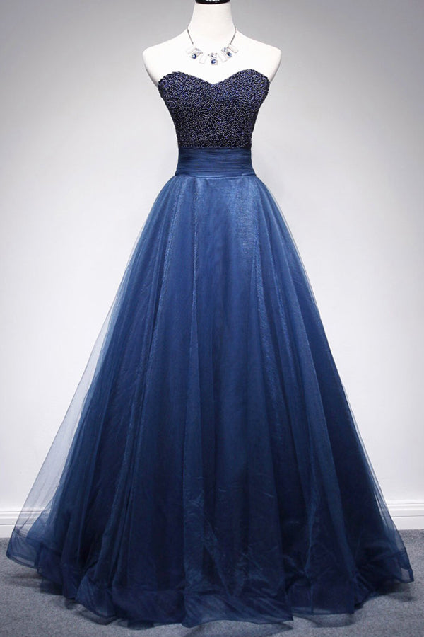 Gorgeous Tulle A Line Beaded Sweetheart Long Prom Dresses Formal Dress, SP343