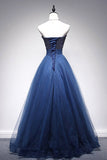 Gorgeous Tulle A Line Beaded Sweetheart Long Prom Dresses Formal Dress, SP343|simidress.com