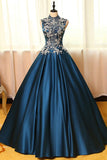Chic Satin High Neck Ball Gown Long Prom Dresses with Appliques, SP344