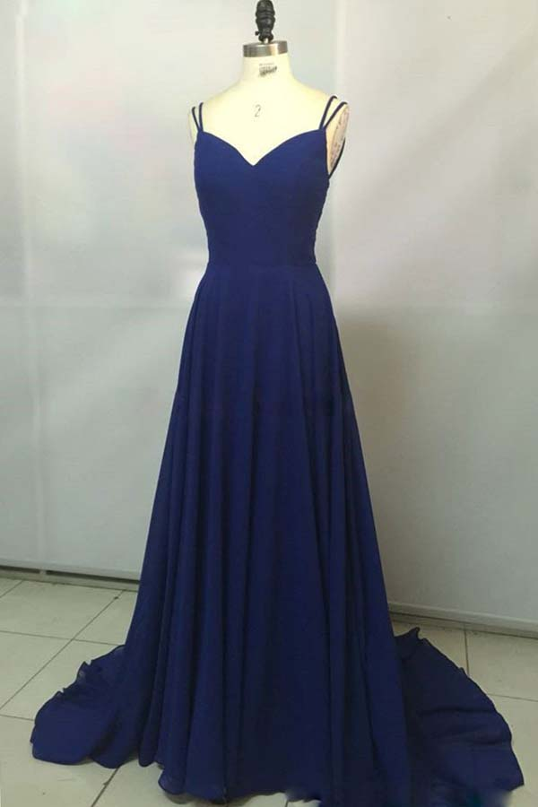 Royal Blue Chiffon V neck Simple Spaghetti Straps Long Prom Dresses, SP345