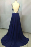 Royal Blue Chiffon V neck Simple Spaghetti Straps Long Prom Dresses, SP345|simidress.com
