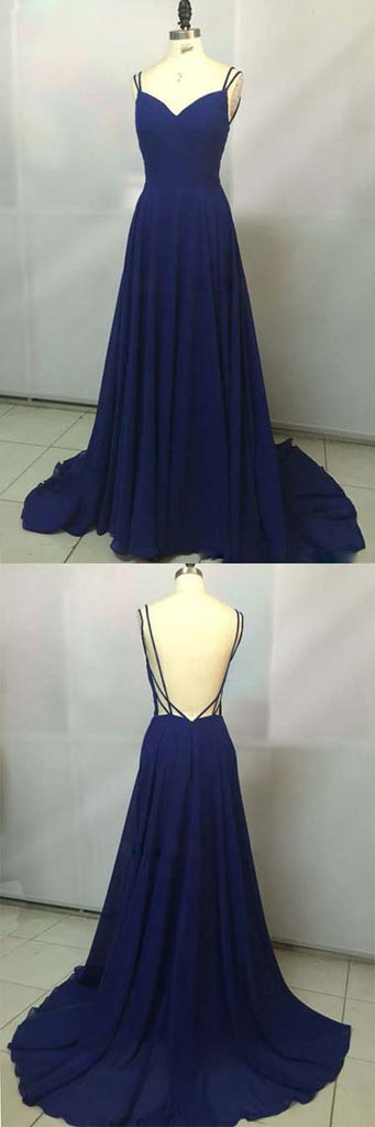 Simidress.com offer Royal Blue Chiffon V neck Simple Spaghetti Straps Long Prom Dresses, SP345